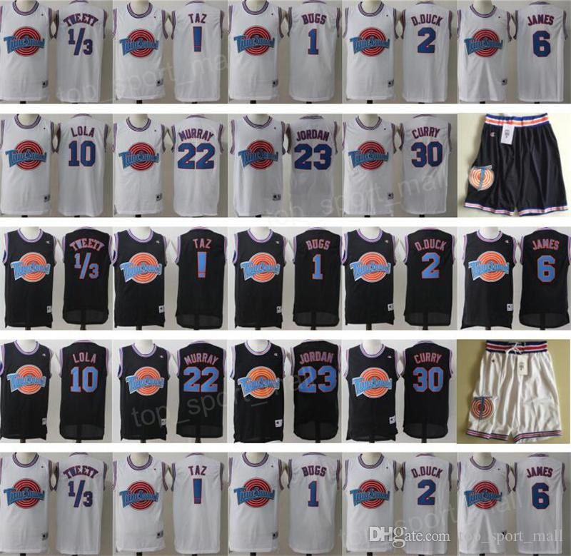 81ac31094cce5f Acquista Space Jam Jersey Movie Tune Squad Looney Daffy Duck Bill Murray  Lola Bugs Bunny TAZ Tweety Michael LeBron James Basket Curry Nero Bianco A   14.33 ...
