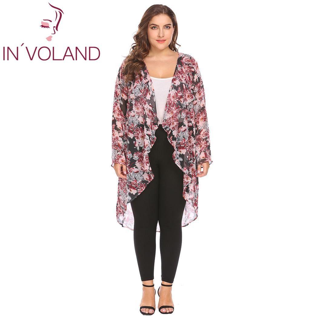 fe3254e3802 IN'VOLAND Big Size XL-4XL Women Chiffon Cardigan Tops Long Sleeve Open  Front Floral Casual Asymmetrical Large Jacket Plus Size Chiffon Cardigan Top  Long ...