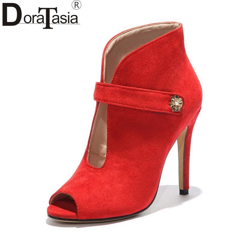 bccc841509 Compre DoraTasia Sexy Das Mulheres Verão Fino Salto Alto Peep Toe Ankle  Boots 2018 Preto Vermelho Nubuck Superior Sapatos Mulher Tamanho Grande 33  43 De ...