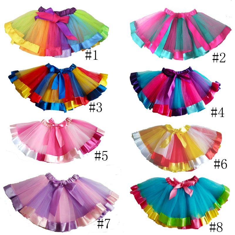 c26edac6b8 2019 Summer Colorful Girls Rainbow Tutu Skirt Children Casual Ballet Dance  Wedding Ruffle Tutu Skirt For Girl Clothes From Shelly199, $226.14    DHgate.Com
