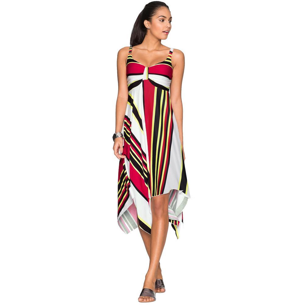 cf9282151721 Vestido de playa de verano para mujer Estampado de rayas geométricas V Sin  mangas Vestido de deslizamiento Dobladillo asimétrico Columpio Boho ...