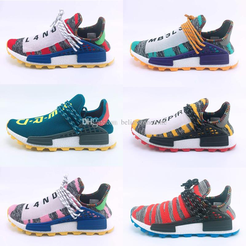 2018 Human Race Pharrell Williams Hu trail NERD Afro Men Womens Running Shoes XR1 White Canvas Black Nerd Sports Shoes With Box big size 47