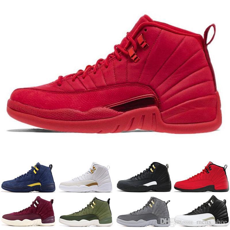 finest selection e3663 aaa0a Acquista Nike Air Jordan 12 12s Gym Rosso 12 12s Mens Scarpe Da Basket  University Blue Flu Gioco Grigio Scuro Uomo Sneakers Moda Scarpe Sportive  Taglia 7 13 ...