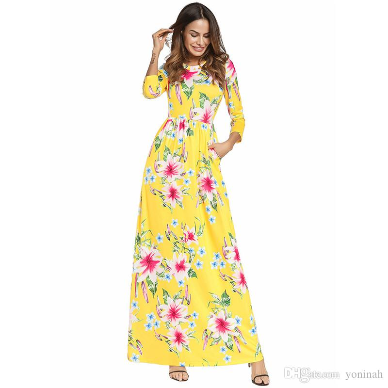 e93f954d0 Compre Atacado Frete Grátis Verão Tamanho Grande Mulheres Vintage Floral  Impressão Floral Manga Comprida Maxi Túnica Vestido Boho Vestidos De  Yoninah