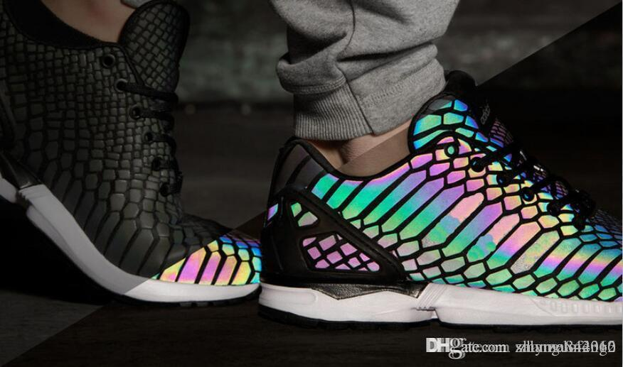 best loved 99853 23016 2018 ZX Flux Xenopeltis Snake Reflective,Xenopeltis Snake RUN shoes sports  running Rainbow Glowing shoes Size 36-44