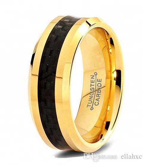 dec8e50aeed72 Black Tungsten Ring Latest Gold Wedding Band Carbon Fiber Finger Ring  Designs Tungsten Carbide 8mm