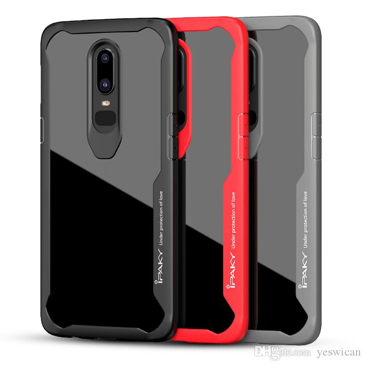 c9b31cd2e95 iPaky Oneplus 6 Case 1+6 Transparent Clear Back Cover PC+TPU 2 In 1 Hard  Soft Cases Drop-proof With Retail Package Wholesale In Stock