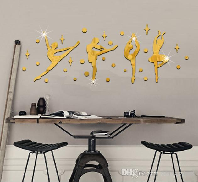 creative ballet dancers wall stickers 3d diy dance room decor home