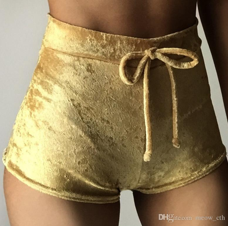 2018 nuove donne jogging pantaloncini in velluto coulisse casual a vita alta primavera estate sexy pantaloni corti magri