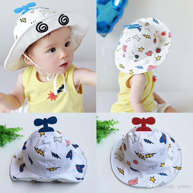 65031728a61ed 2019 Infant Boy Girl Summer Hat Helicopter Design Baby Cotton Bucket Hat  Sun Caps With Chin Strap Cartoon Children Hat From Gomo