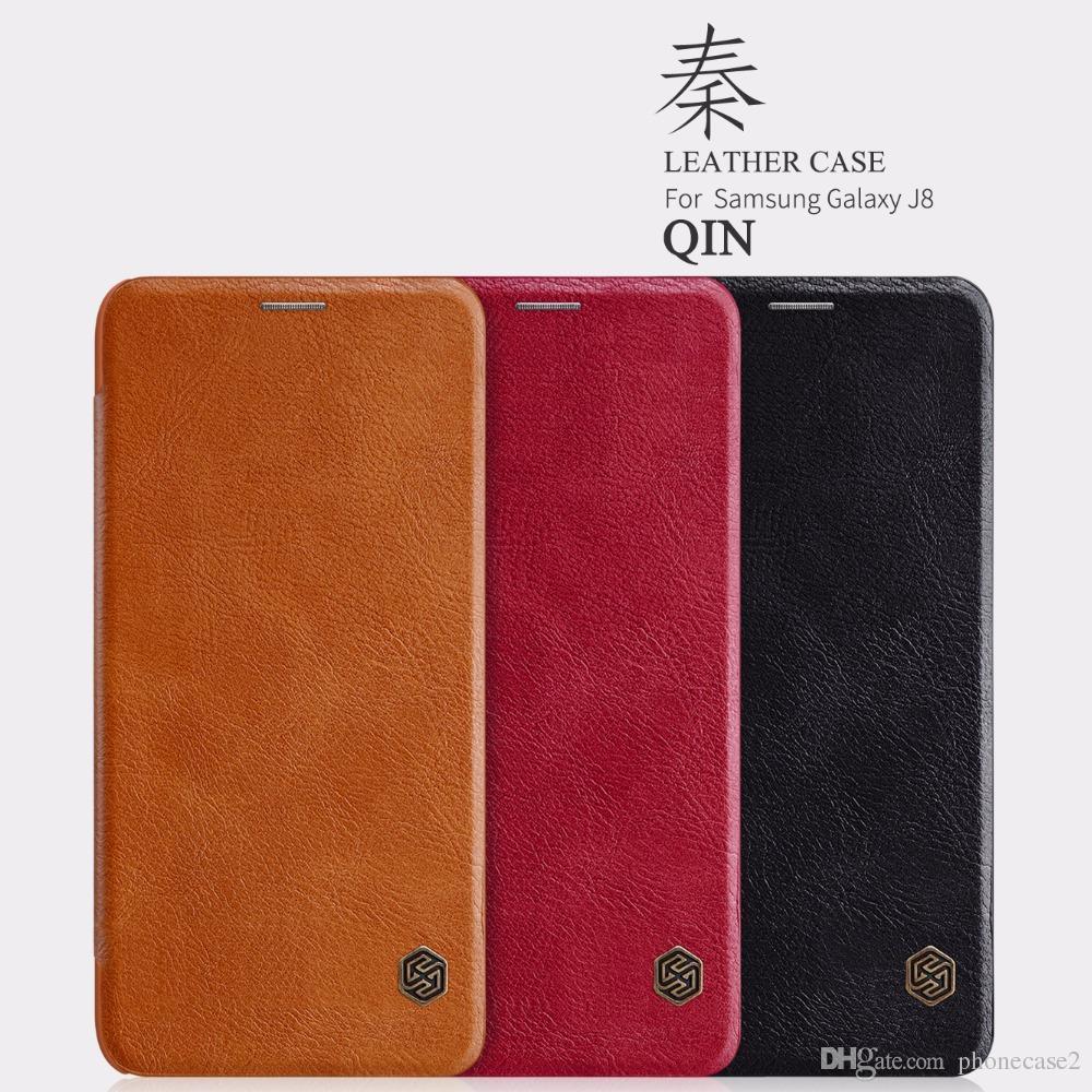 newest 8eb63 58a8f Leather Case For Samsung Galaxy J8 Nillkin QIN PU leather Case Card Pocket  wallet bag flip cover for Samsung Galaxy J8