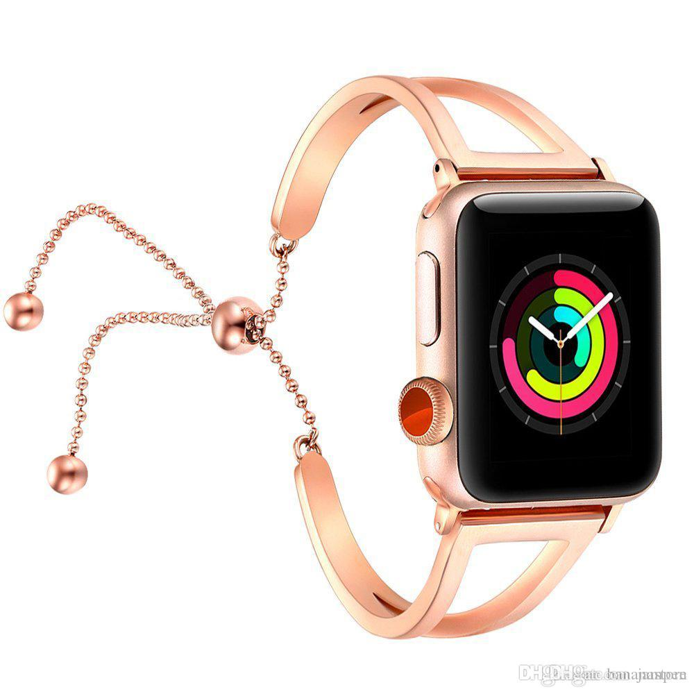 Women Watch Bracelet for Apple Watch Bands 38mm 42mm Adjustable Stainless  Steel Strap with Pendant for Iwatch Series 4 3 2 1 Steel Strap Watchbands  Smart ... ec1edd179