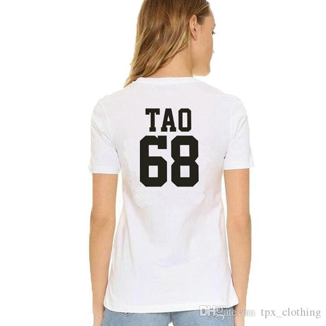 Tao t shirt Cool words EXO group 68 ABstyle short sleeve gown Street  leisure tees Unisex clothing Pure color cotton Tshirt