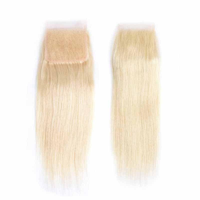 Brazilian 613# Blonde Virgin Hair 3 Bundles with Lace Closure Top Lace Closure and Bundles Silk Straight Hair Extension With Lace Closure