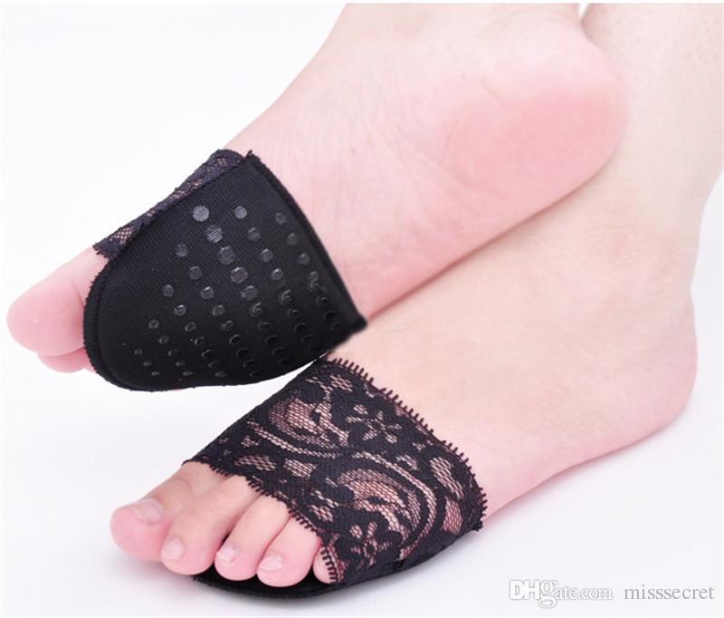 레이스 여자 숙녀 보이지 않는 Anti-slip 앞발의 Insoles 하이힐 슬리퍼 보이지 않는 하프 야드 패드 메모리 폼 Insoles