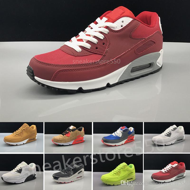promo code b43d1 b80b7 Compre Nike Air Max 90 Airmax 2018 Barato Hombres Mujeres Zapatillas Zapatos  Clásicos 90 Hombres Zapatos Casuales Venta Al Por Mayor Envío De La Gota ...
