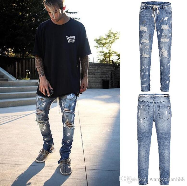 e4e58aae5a Compre Europa Y América High Street Splash Efecto De La Pintura Pantalones  De Daño Múltiple Cremallera Botón Lavado Slim Stretch Jeans 506 A  46.7 Del  ...