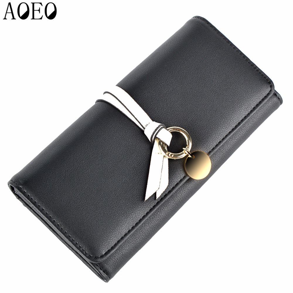 AOEO Black Woman Wallet Female Wristlet Slim 9 Card Holder Pu Leather Ladies Travel Purse Cute Phone Money Cash Coin Bag Wallets