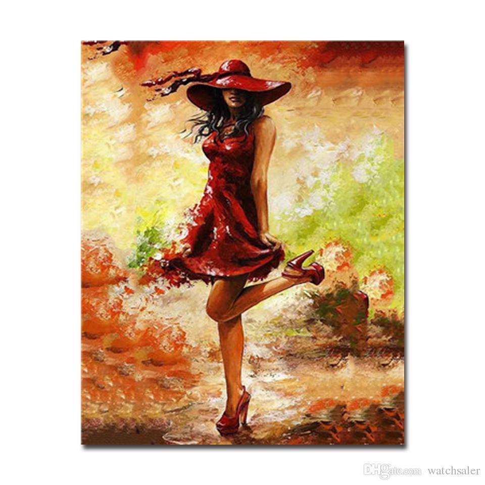 Imagens de óleo pintura by numbers diy kits de desenho sexy bela roupa vermelha mulheres na lona handpainted coloração decoração da arte da parede