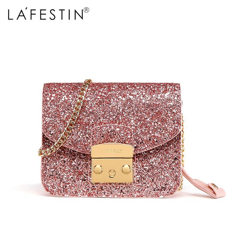 2f028c837ec0 LAFESTIN Brand Women Shoulder Bag Fashion Sequins Design Flap Crossbody Bag  Female Ladies Chain Message Shoulder