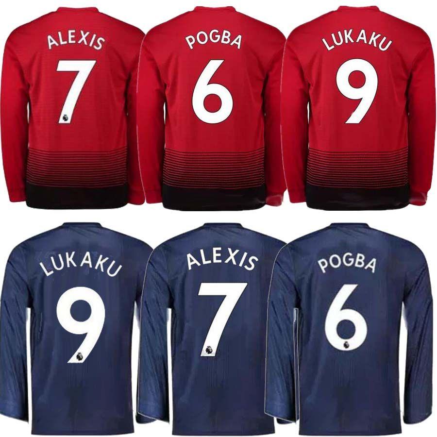 d4346093b ... cheapest 2018 18 19 manchester united long sleeve jersey lukaku pogba  home alexis 2018 2019 matic