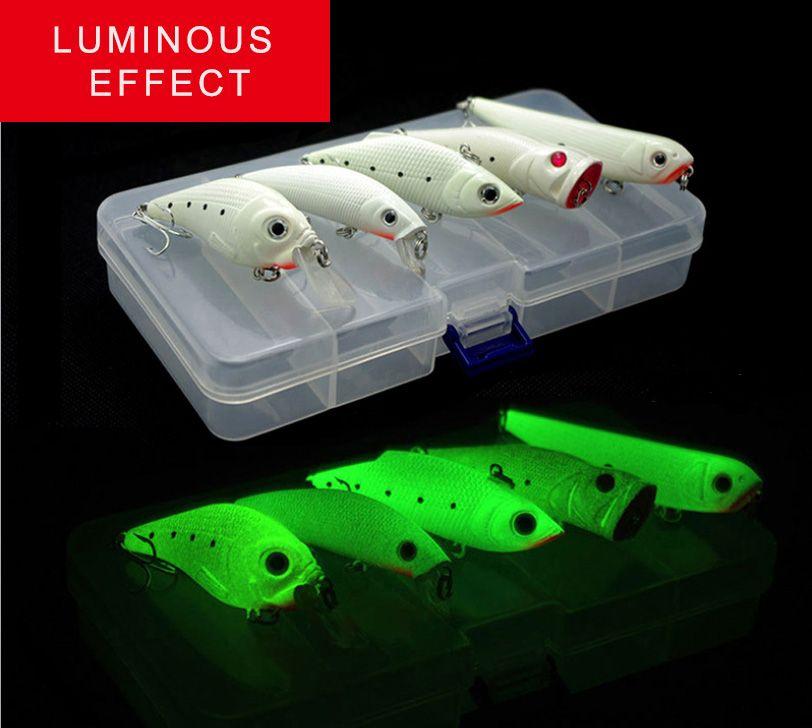 Quaility Artificial Crank Bait Luminous Minnow VIB Popper Night Fishing Lure