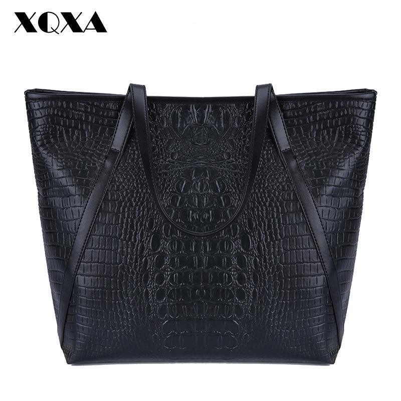 2019 Fashion XQXA Black Casual Women Shoulder Bags PU Female Big Tote Bags  For Ladies Handbag Large Capacity Sac A Main Femme De Marque Purses For Sale  ... faf5e61de