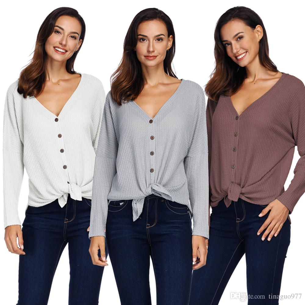 9da04b21 2019 3xl Womens Blouses Long Sleeve Button Down Thermal Knit Henley Tops V  Neck Casual Ribbed Blouse Shirts From Tinaguo977, $11.56 | DHgate.Com