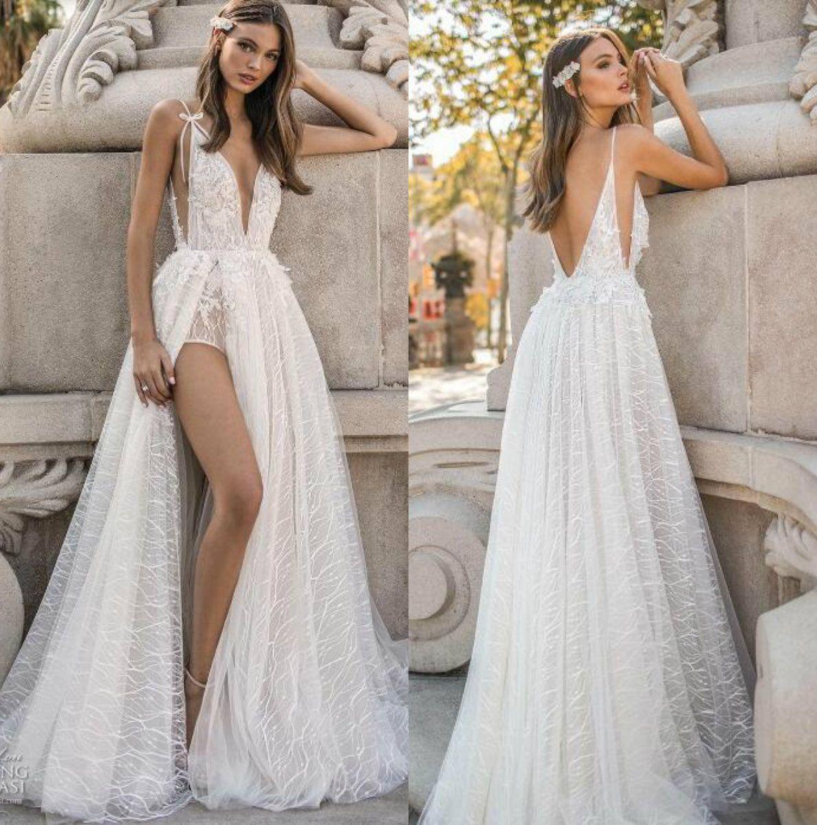 Muse By Berta 2019 Wedding Dresses V Neck Backless Crystal