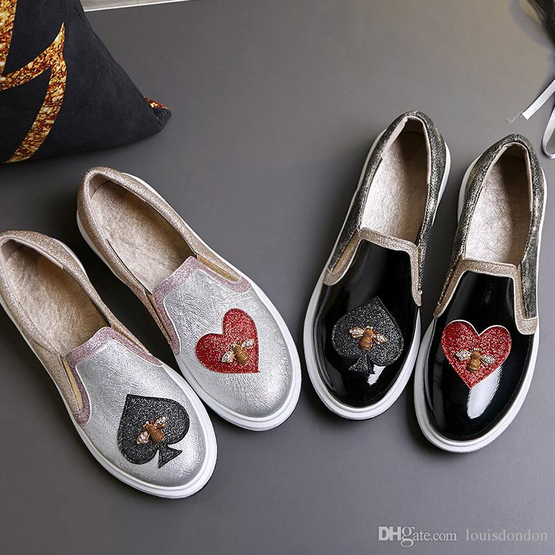01d4244ee47 Fashion Women s Loafers Slip on Glitter Patent Leather Heart Shaped ...