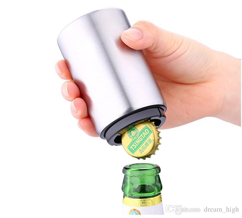 Magnética automático de la botella de cerveza del abrelatas de casquillo de acero inoxidable Tipo Prensa Cerveza Vino Abridores Gadgets de cocina Herramientas