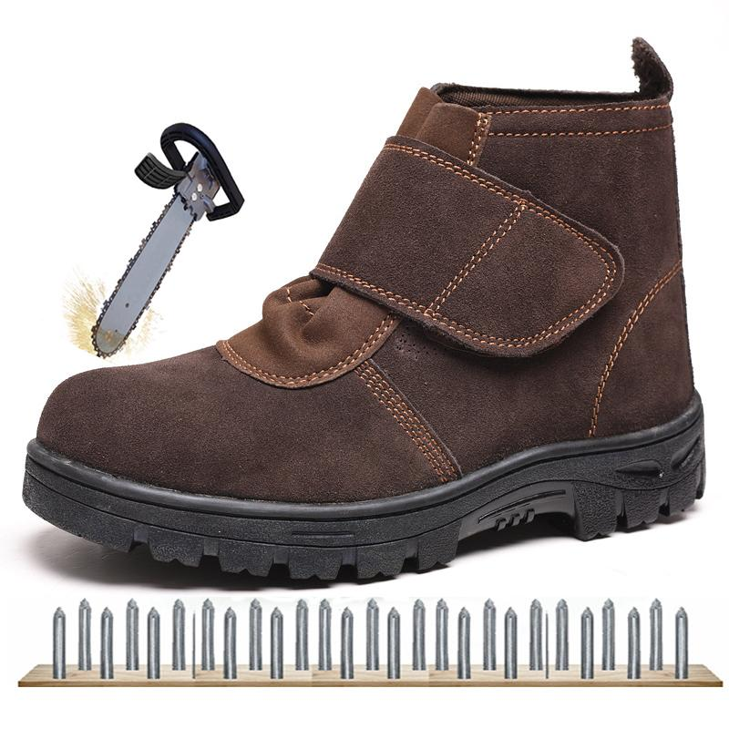 f23ebc565e3 Men Outdoor Work Safe Shoes High Quality Men Safety Shoes Steel Toe Cap  Steel Insole Wear-Resisting Cow Suede Safety Boots