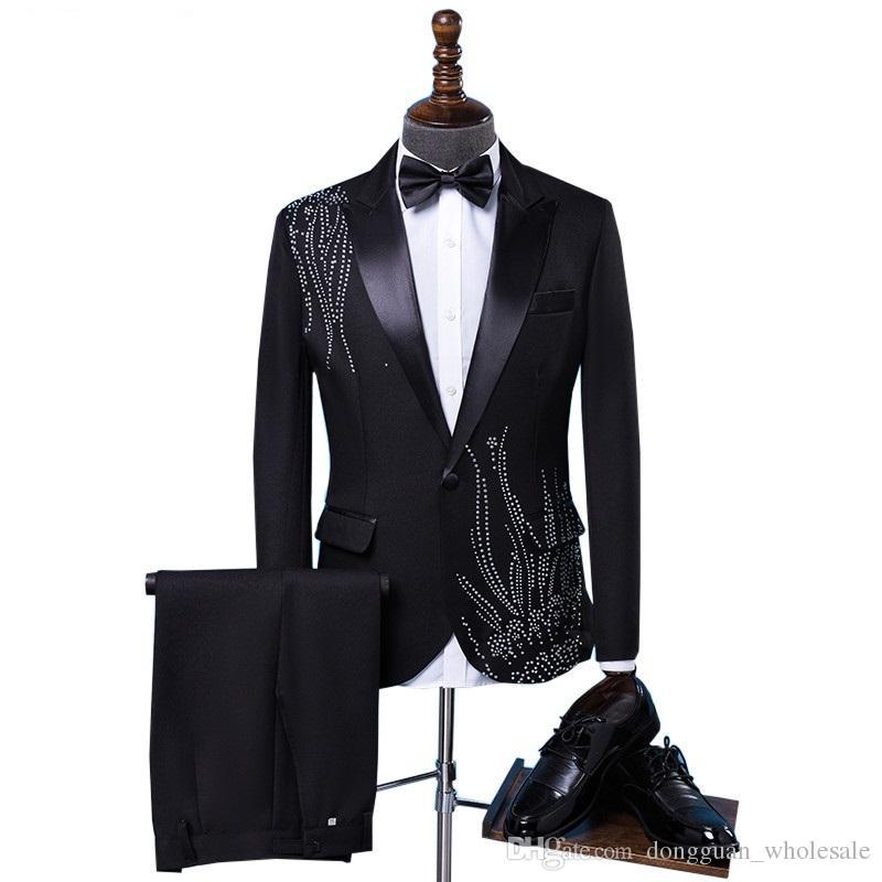 501189d667 Compre Chaqueta + Corbata + Pantalones Marea Masculina Disfraz De Adulto  Sparkly Diamond Hombres Traje Bar Cantante Prom Chorus Boda Maestro De  Ceremonias ...