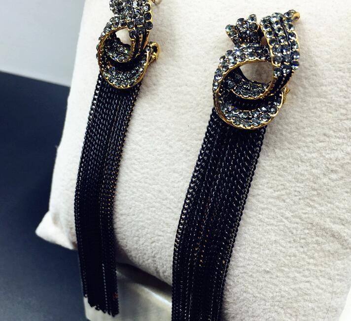 404e14603 2019 Retro Crystal Tassel Earrings Black Silver Gold Metal Long Drop Dangle Tassel  Earrings For Women Jewelry From Shanjumou, $34.19 | DHgate.Com