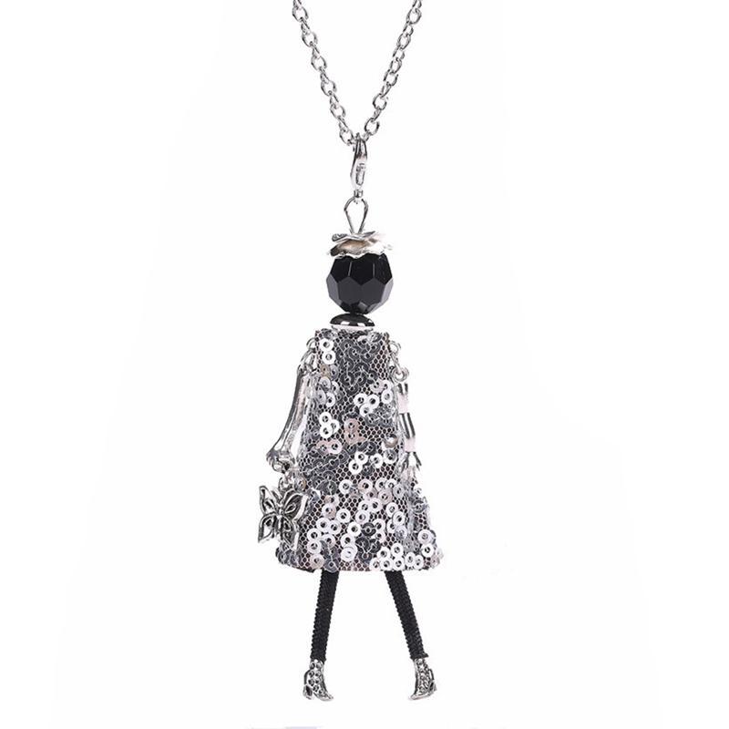 Wholesale New Women Doll Cute Black Long Necklaces Pendant Hot