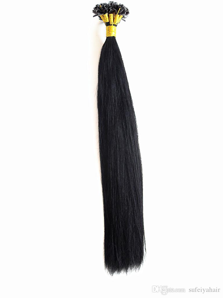 Brazilian Human Virgin Hair Straight Hair Pre-bonded Hair Extensions Unprocessed Jet/Natural Black Dark Brown Color Thick End