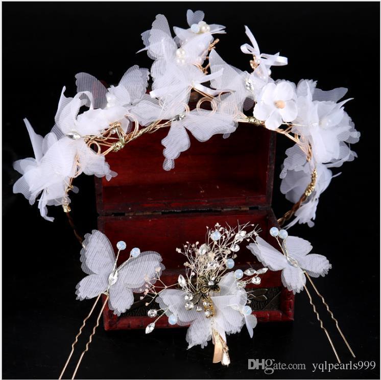 Tela Mariposa Cinturón de pelo Banda para la boda Boda Diadema