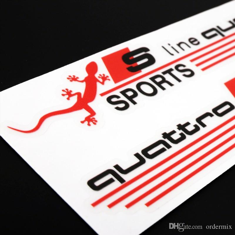3D Gecko S line Quattro SPORTS Car Stickers Vinyl Decal Auto Car Cover Rearview Mirror Decoration Glue Sticker for Audi