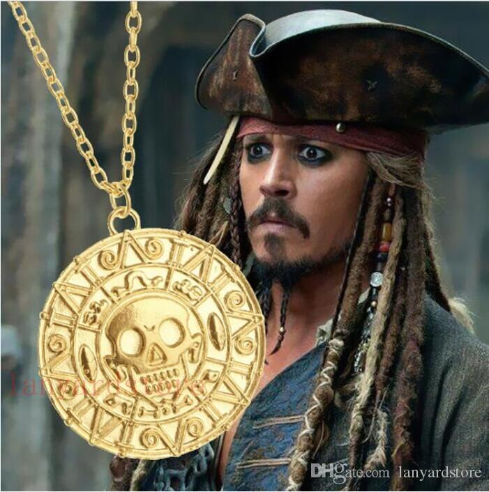 Classic movie accessories Pirates necklace 18 K Gold coin Aztec coins men's Skull Necklace Pendant