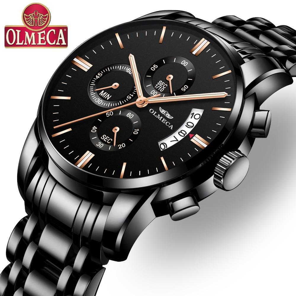 0e77a6ab248a Compre OLMECA Hombres Reloj De Primeras Marcas De Lujo Relogio Masculino  Relojes Impermeables Reloj De Pulsera De Acero Inoxidable Calendario De  Moda ...