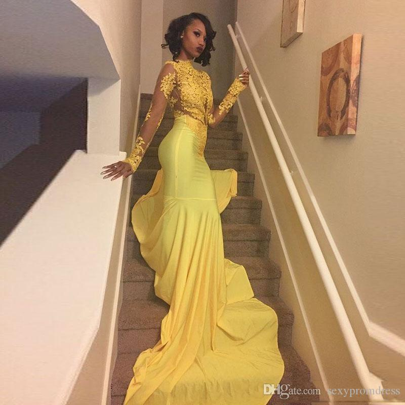 2018 Pretty Yellow African Lace Appliqued Prom Dress Mermaid Manica lunga Banchetto Evening Party Gown Custom Made Plus Size sudafricano