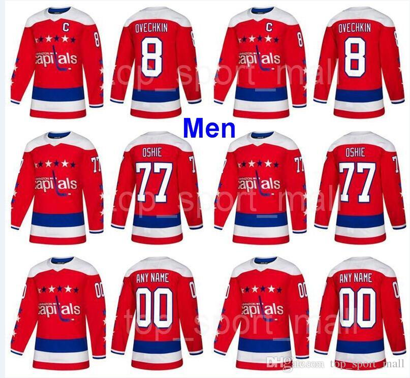 san francisco 5f3ed abb33 Man Washington Capitals Ice Hockey 8 Alex Ovechkin Tom Wilson Jersey Braden  Holtby TJ Oshie Evgeny Kuznetsov Red Alternate Third Blue White
