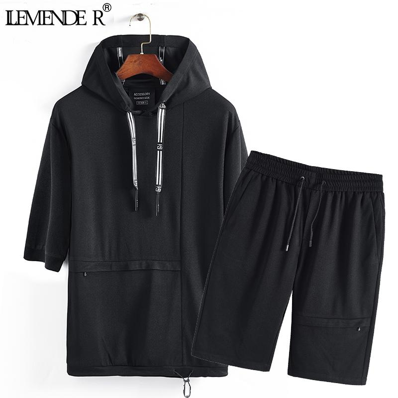 2019 Summer Casual Mens Tracksuit Shorts Two Piece Sets Black Mens Sweat  Suits Brand Men Clothes 2018 Loose Hoodie Tops + Short From Yingluo d60378f9a
