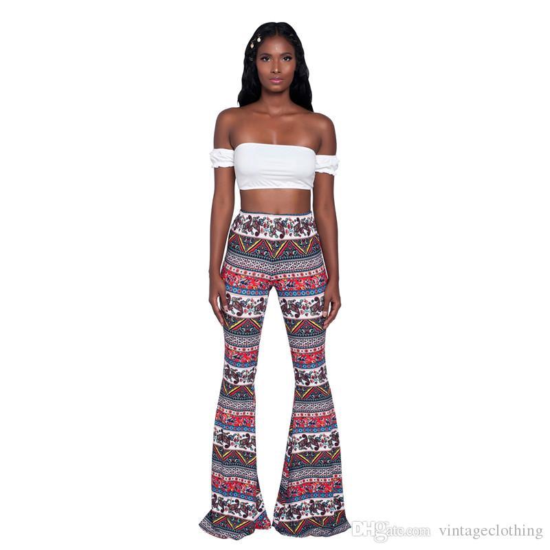 Summer Vintage Women Fashion Brand New Floral Printed Leg Pants Long Flare Pants Plus Size S-2XL