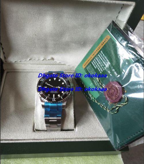 Luxus Perpetual Edelstahl Keramik SEA Herren Uhr Schwarz 116710 Box Papers Größe 43MM Herrenuhren