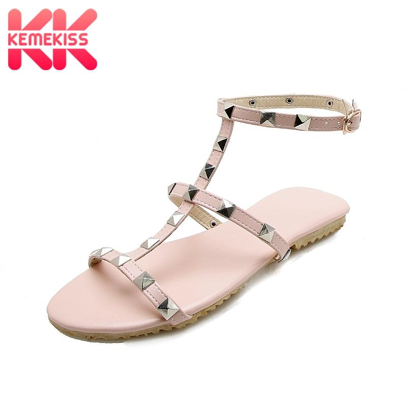 82aa120d4 Wholesale Size 34-48 Fashion Women Flats Sandals Open Toe Rivet ...