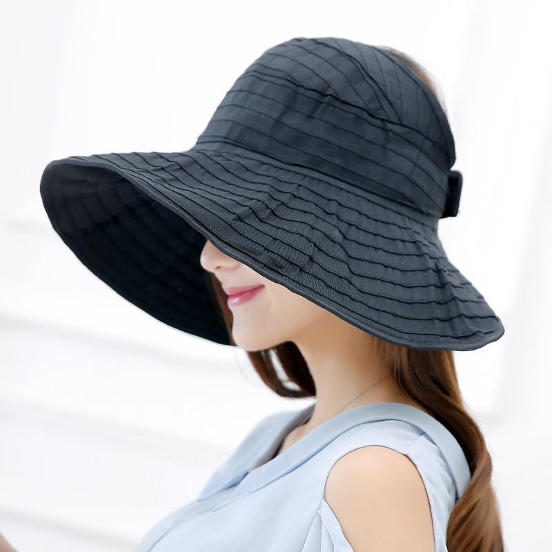 948bf1a150ffe Women Packable Crushable Roll Up Wide Brim Sun Visor Beach Hat Large Brim  Hat Summer Ladies Sun Vacation Empty Top Caps Fedora Hat Bowler Hat From  Loquat18