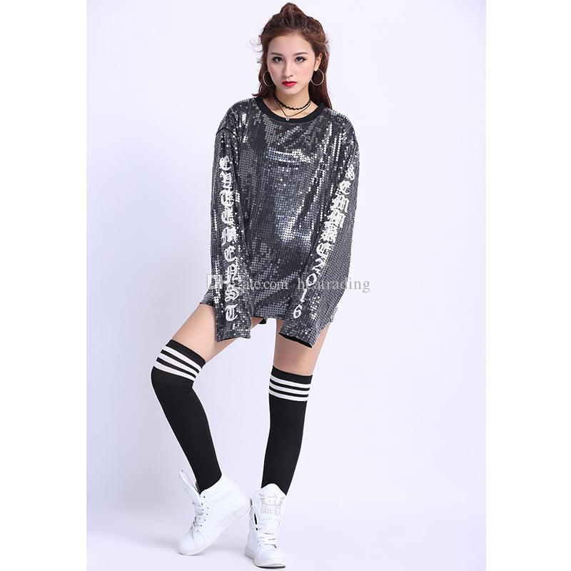 8a820461cdffa Latest Wholesale Round Neckline Classic Long Sleeve Women Sequined  Sweatshirt Sequined Sweatshirt Long Sleeve Sequins T-shirt Sequins Clubwear  Online with ...
