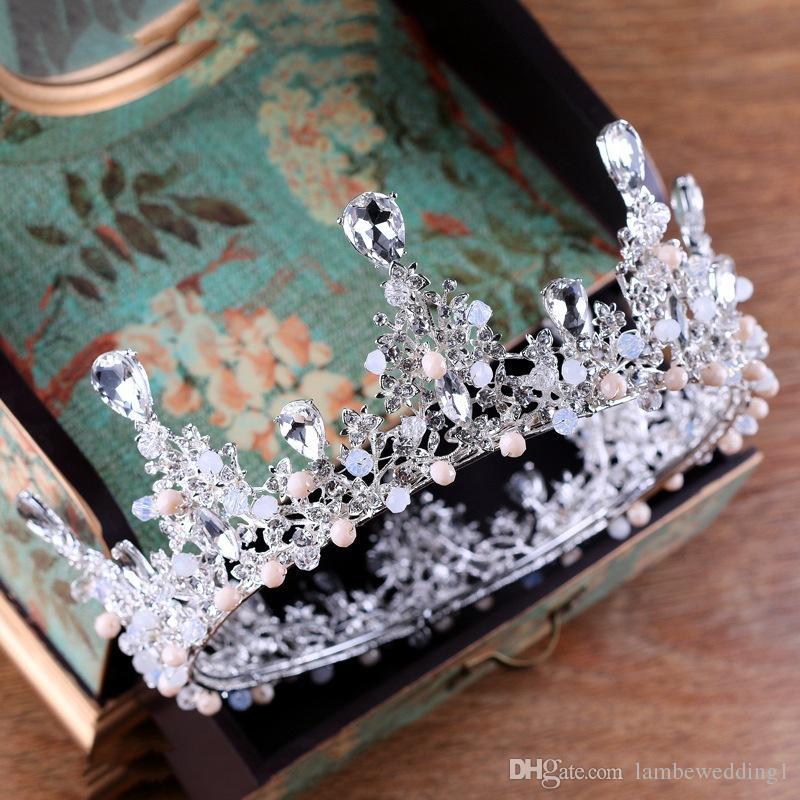 2018 di alta qualità argento cristalli di diademi in cluster di strass chiaro Lush con perline fatti a mano da sposa copricapo accessori da sposa corona