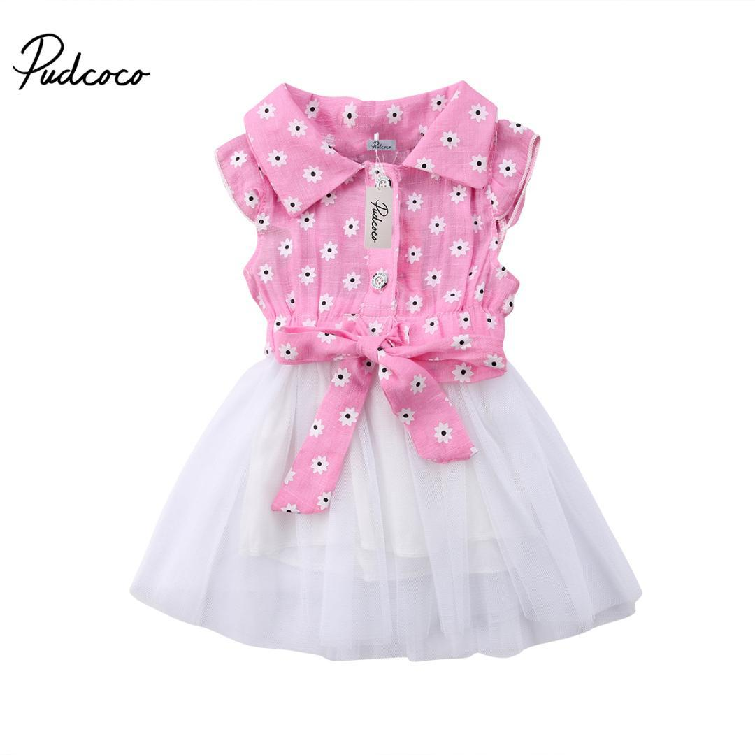 f7805c969071 Summer Newborn Inafnt Kids Baby Girls Floral Bowknot Tulle Tutu ...